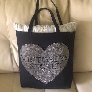 Victoria's Secret Black w/studded heart tote